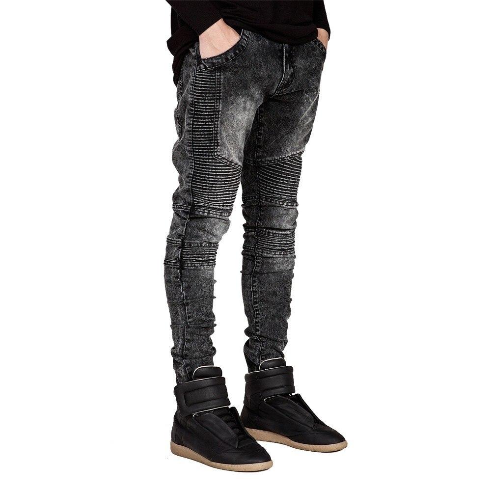 Pantalones vaqueros para hombre de pasarela Slim Racer Biker Jeans de moda Hiphop Skinny Jeans para hombres H0292