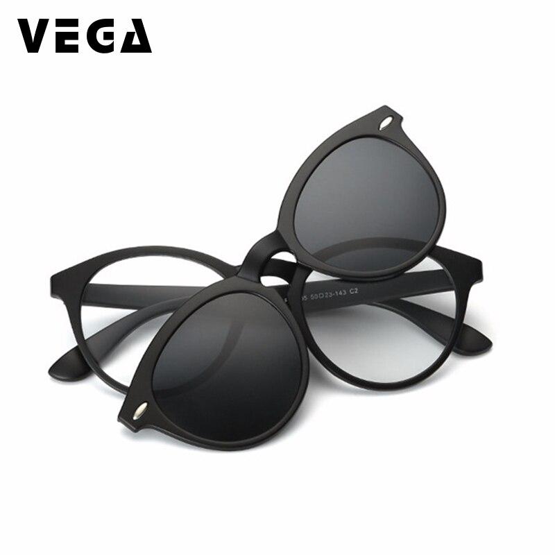 VEGA поляризационные солнцезащитные очки с зажимом для очков, оправы для очков с зажимом, солнцезащитные очки, магнитные очки для мужчин и жен...