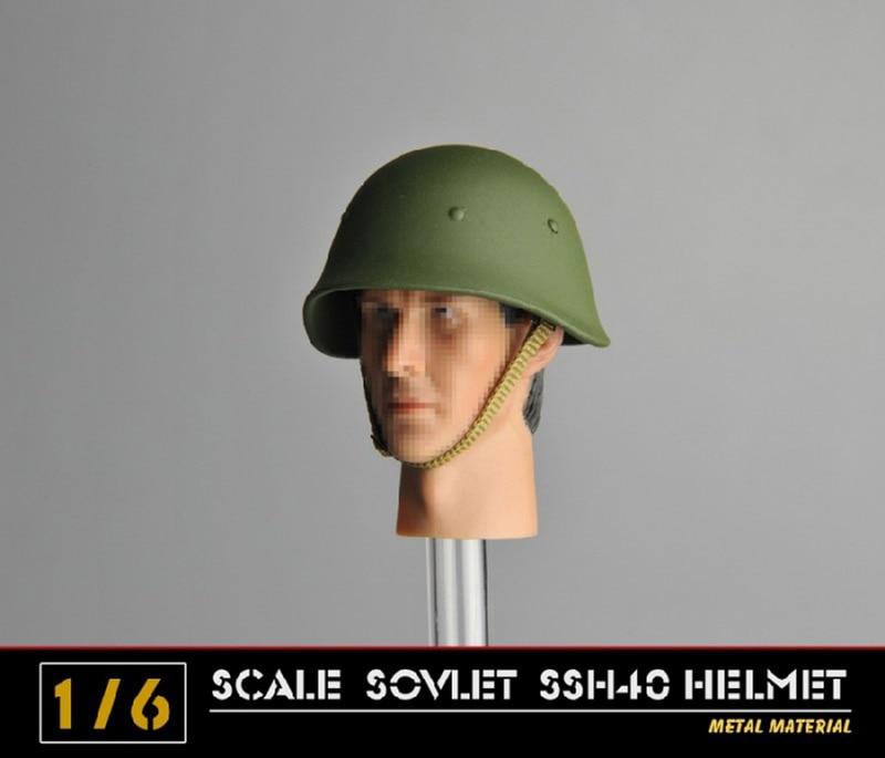 Accesorios de la figura de acción SSH40 del casco de metal del soldado del Ejército de la Segunda Guerra Mundial de 1/6