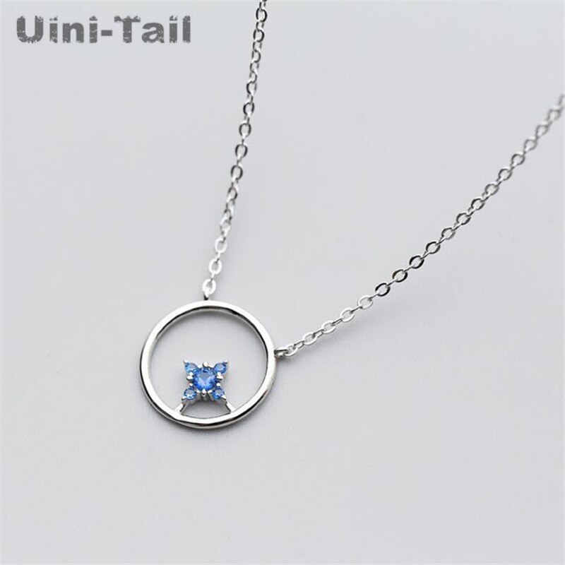 Uini-cola nueva plata de ley 925 hueco redondo cuatro mans collar dulce sencilla original Collar para estudiante tendencia coreana GN449