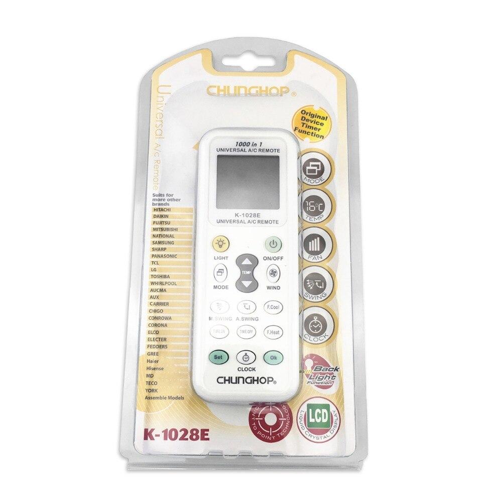 10 unids/lote Universal A/C controlador aire acondicionado control remoto chunghome K1028E con k-1028e de embalaje