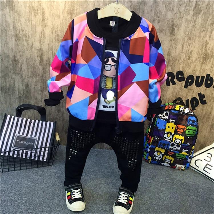 3PCS boys fashion clothing set kids new printed hoodies black t shirt and jean set baby o-neck long sleeve zipper clothes 2-7T