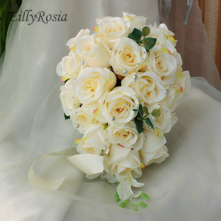 باقة الزفاف من الورود الاصطناعية ، الشلال ، بوهو ، لوصيفات العروس ، كريم الشمبانيا ، الزهور الاصطناعية