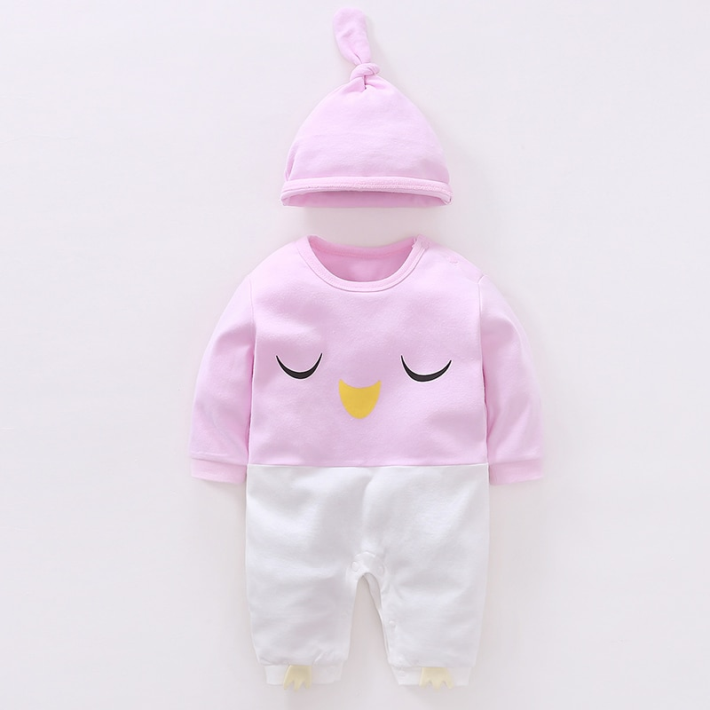 YiErYing Baby Romper Set Spring Autumn 2Pc Long Sleeve Cotton Cute Cartoon Printed Hat+Jumpsuits Lei