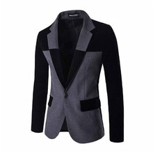 2016 Mens New Blazer Dark Grey Slim Fit Suits Jacket Stand Collar Slim Fit Cotton Outwear Imported C