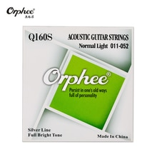 Cuerdas de guitarra acústica Orphee Q160S, aleación Hexagonal, alambre Chapado en plata, alto brillo 011-052 pulgadas