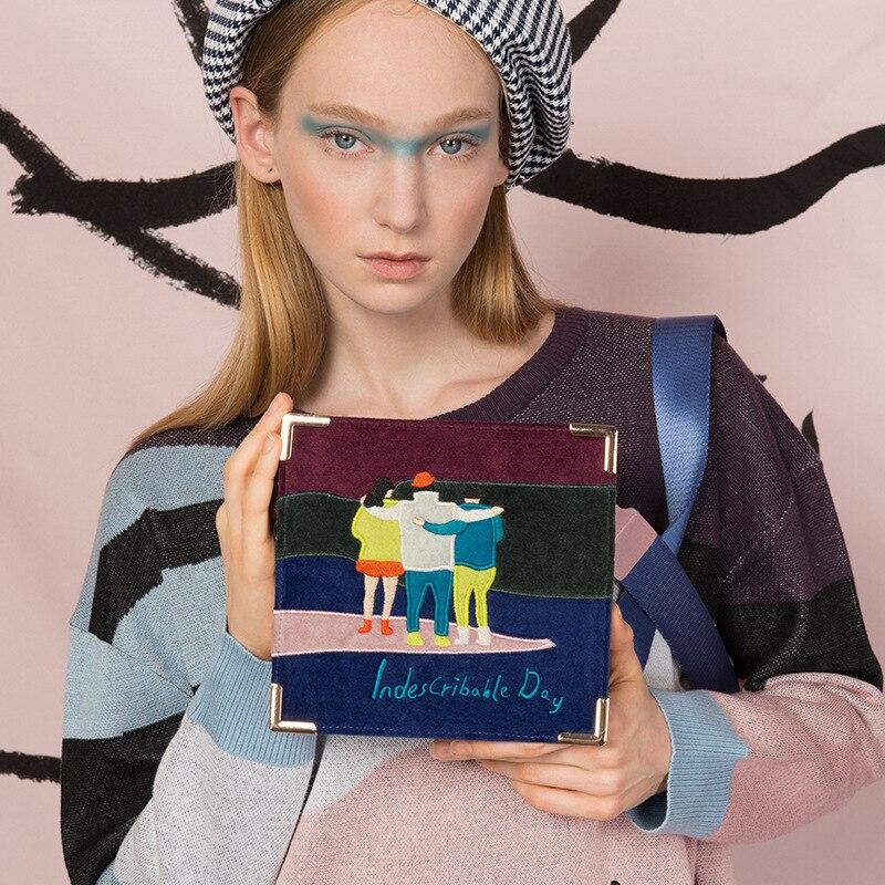 Винтажная Женская Повседневная мини-сумка-мессенджер YIZISTORE с вышивкой в стиле ретро, маленькая сумка через плечо