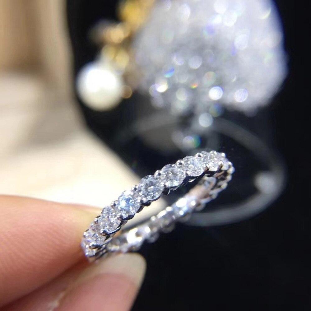 Anillo de banda de boda eternidad 925 Plata de Ley 4mm AAAAA Zirconia cúbica anillos de compromiso para mujeres regalos de joyería para dedo nupcial
