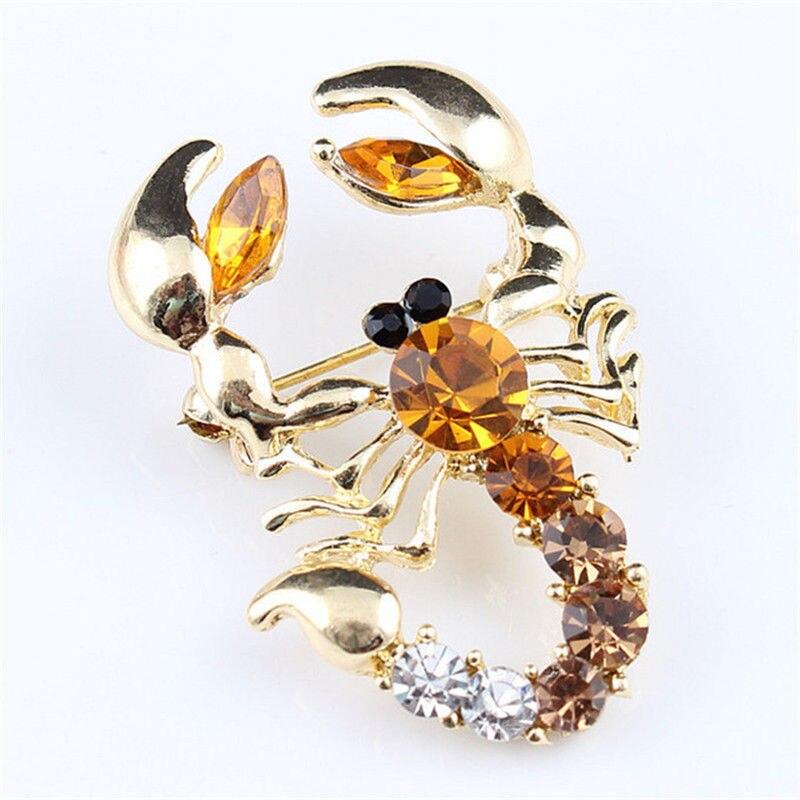 Boda nupcial imitación de cristal Animal escorpión broche decorativo imitación diamante prenda joya broche