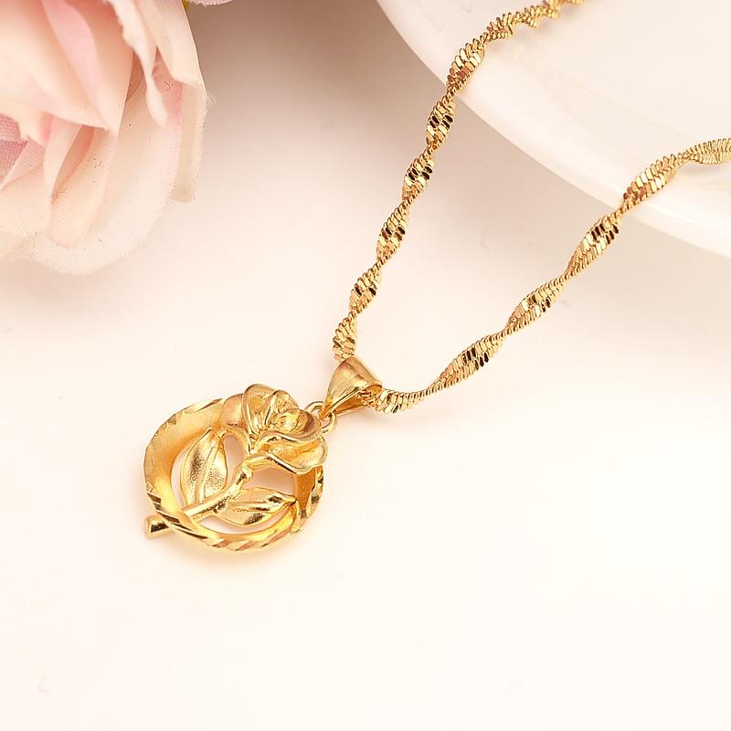 Dubai colgante collar colgante de las mujeres 14 k oro fino GF chicas fiesta joyería África/Arabrose Sweetheart rose flor regalos