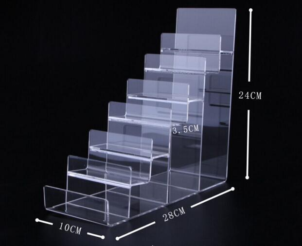 Seven-Layers Acrylic Wallet Display Stand Purse Holder high quality phone cosmetics jewelry shelf Nail polish display rack