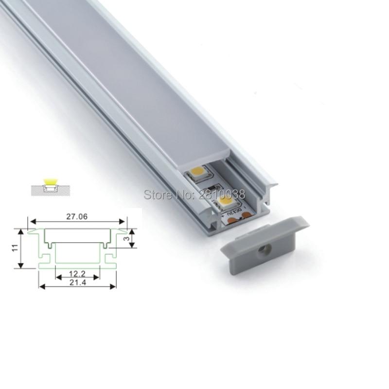 Juegos de 100X1 M/lote de canal led de aluminio con brida lineal y extrusión de aluminio led en forma de T impermeable para luces de suelo o suelo