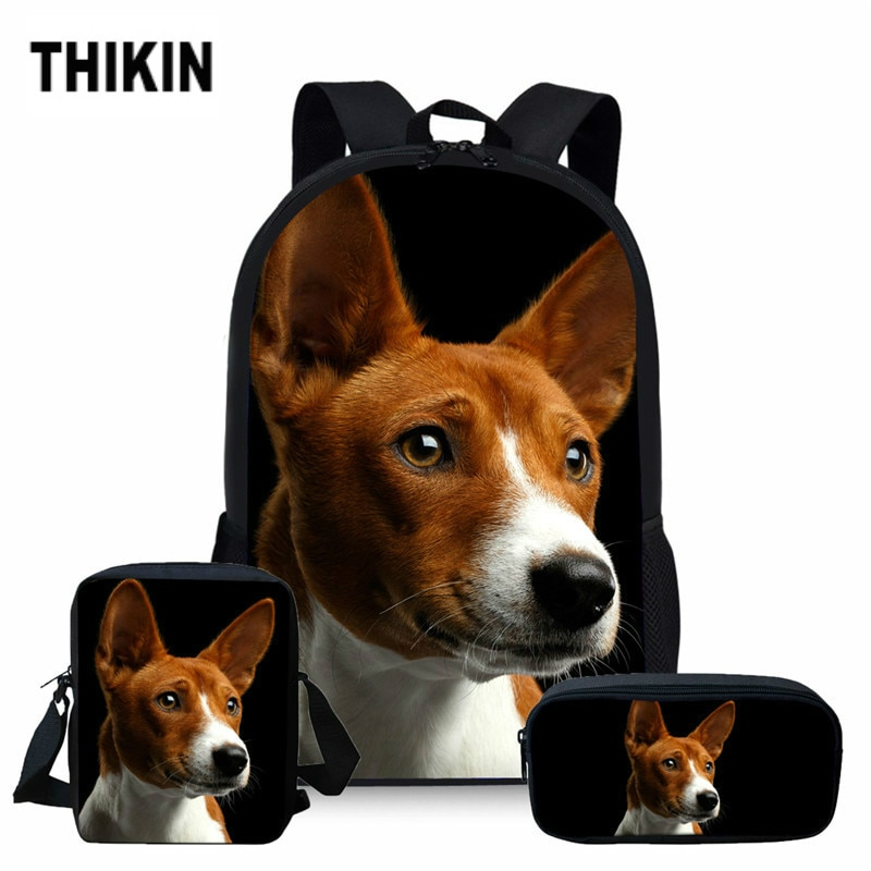Bolsas de escuela para perros THIKIN 3D Basenji, mochilas de viaje para adolescentes, mochilas para niños, mochilas escolares de 3 uds, mochilas infantiles