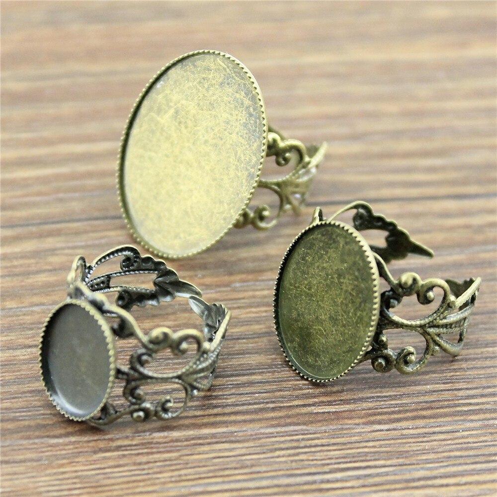 10 pces filigrana anel ajuste base ajustável anel filigrana ajuste 10x14mm 13x18mm 18x25mm oval cabochons de vidro antigo bronze cor