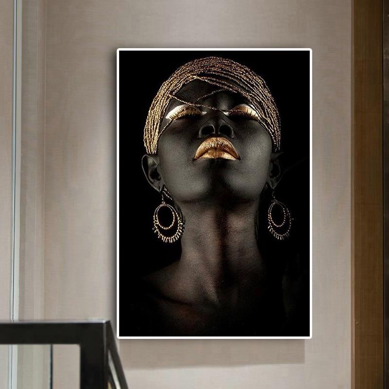 Созерцатель черная африканская Обнаженная женщина картина маслом на холсте плакаты и принты скандинавские настенные художественные картины для гостиной