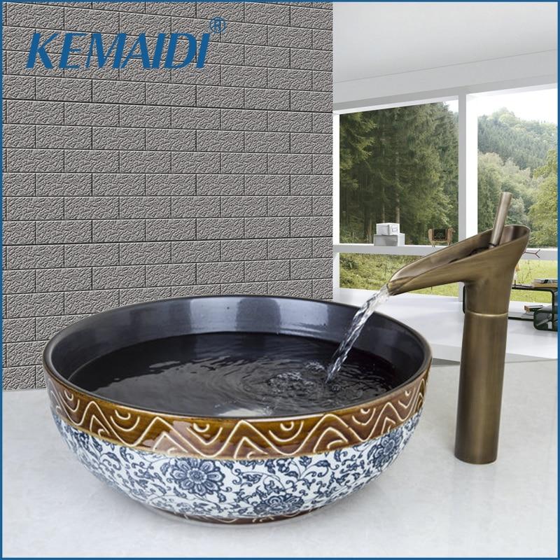KEMAIDI-صنبور حوض نحاسي عتيق روس ، حوض غسيل دائري مطلي يدويًا ، حوض حمام ، صنبور خلاط نحاسي
