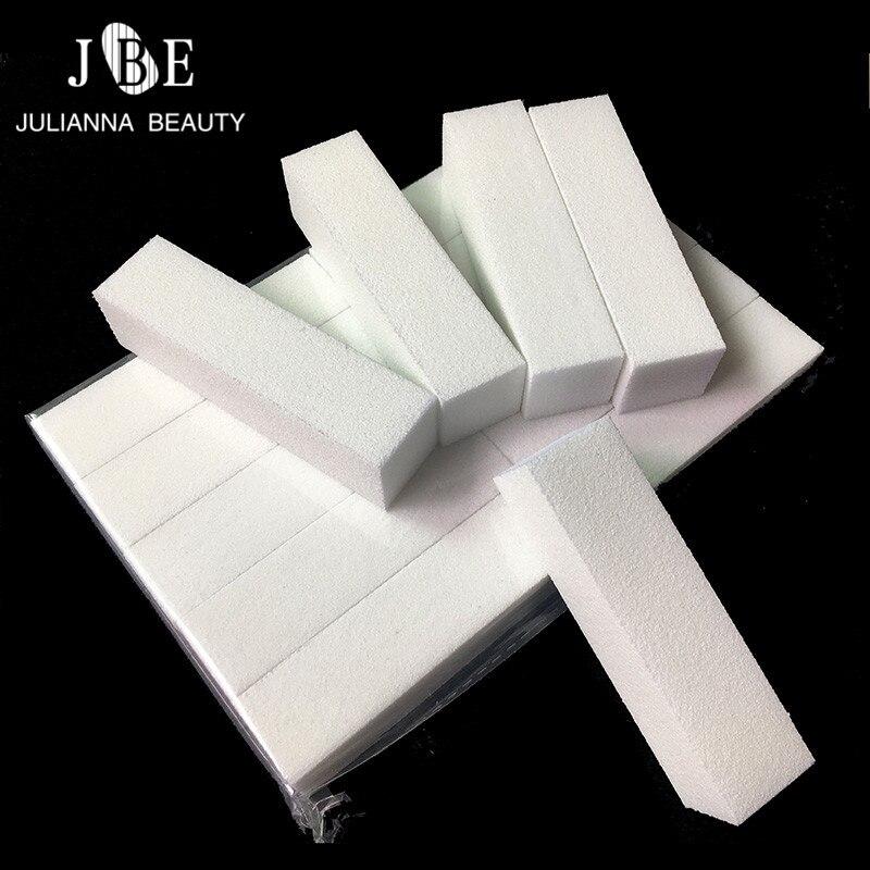 10 pcs Alta Elástica de Algodão Prego Buffer Do Bloco Nail Art Tampão Lixar Pedicure Manicure Acrílico Dicas Da Arte do Prego Arquivo de Buffer branco