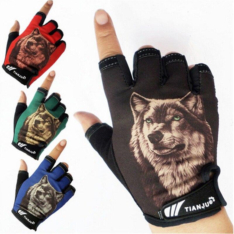 Guantes tácticos de diseño de lobo semidedo para hombre LongKeeper, guantes antideslizantes de medio dedo para conducir, guantes de invierno