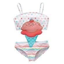 2019 nouveau-né bébé fille maillot de bain maillot de bain Bikini enfants maillot de bain enfants mignon dessin animé rayé Patchwork 12 M-8 T maillot de bain