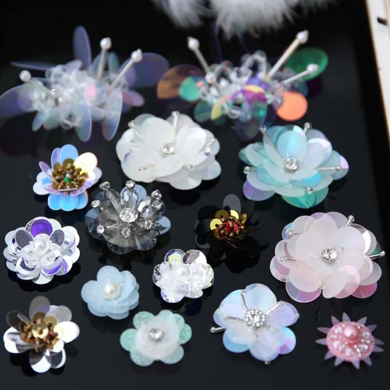 AHYONNIEX Remendo da flor de Lantejoulas para Roupas De Costura em Strass Applique Frisado para Jaquetas de Jeans Sacos de Sapatos de Lantejoulas Applique