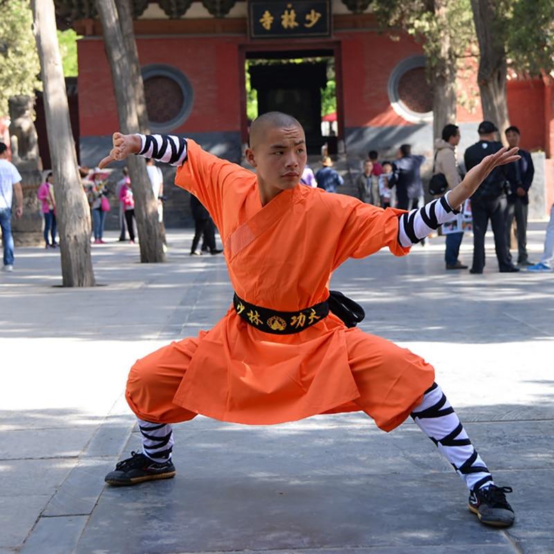 USHINE 08 Height 100cm-190cm Cotton Kids ShaoLin KungFu Uniform Performance Suits Clothing Costume Anzug For Man Boys