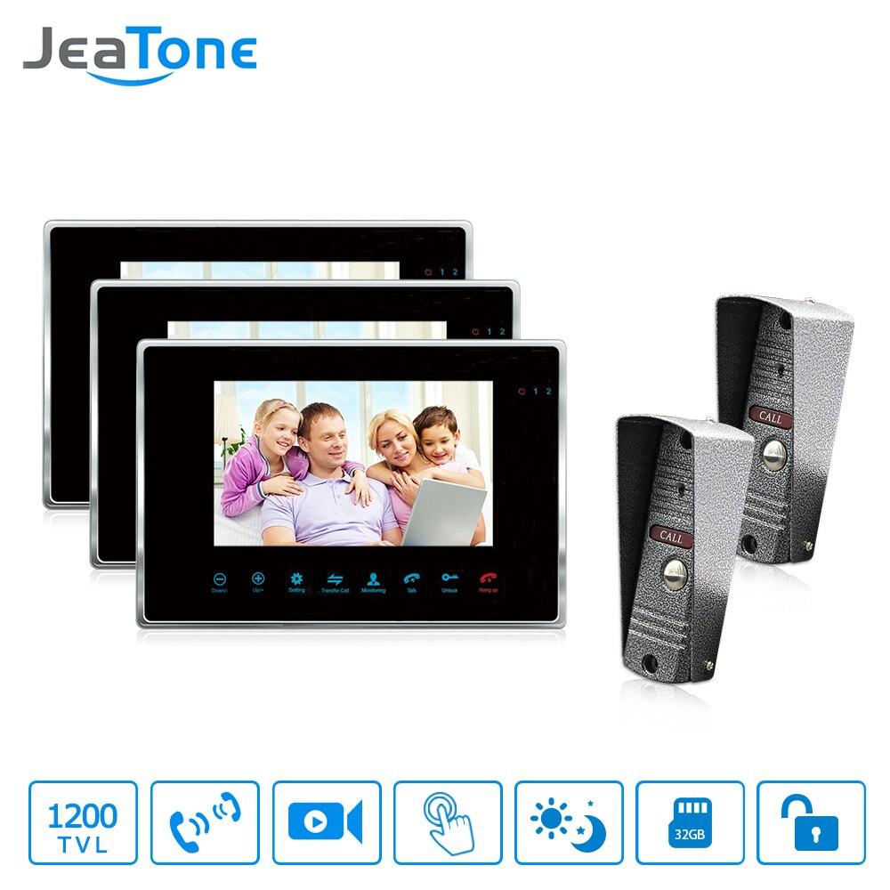 """JeaTone Color 7 """"LCD Monitor de tecla táctil Video puerta teléfono Sistema de portero automático timbre de grabación y memoria de imagen IR Cámara Kit 2v3"""