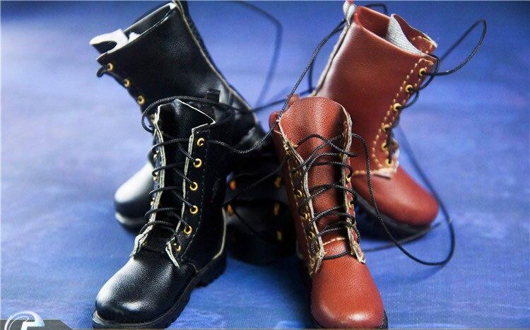 Zapatos de figura de hombre a escala 1/6 zapatos militares Martin botas de combate modelo sólido interior con pies para cuerpo de figura de acción de 12 pulgadas