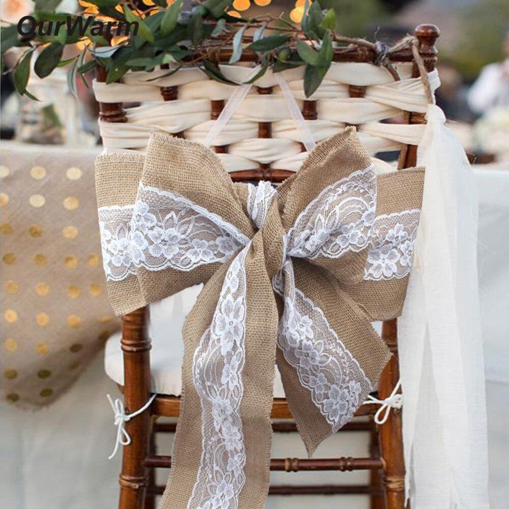 OurWarm рустикальное свадебное украшение 18X275CM кружевной стул с джутовым баннером и поясом джутовый стул галстук-бабочка DIY ремесла для банкета и свадебной вечеринки