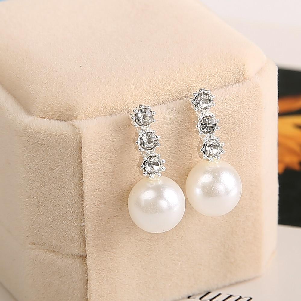Damenmode Legierung Kristall Strass Ohrringe frauen Schmuck Geschenk Mode Intarsien Drei Große Perle Ohrringe Großhandel