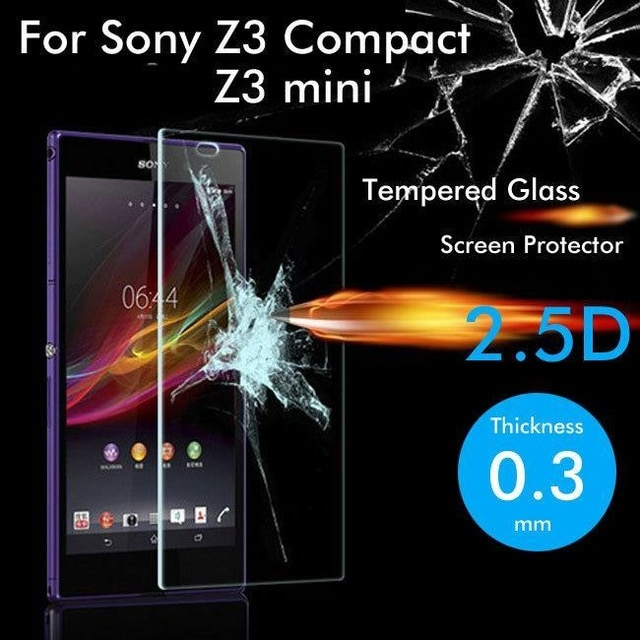 2.5D vidrio templado para Sony Xperia Z3 película protectora compacta a prueba de explosiones Protector de pantalla para Z3 mini D5803 M55W