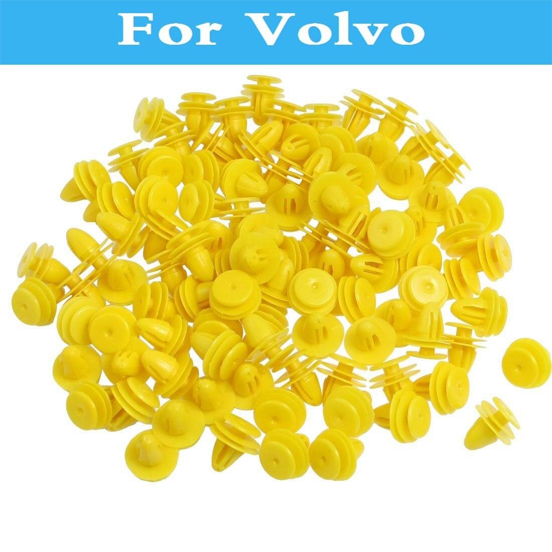 50 stücke Gelb Kunststoff Niet Auto Tür Trim Panel Clips Für Volvo S40 S60 S80 Xc90 C30 C70 V40 V50 v60 Kreuz Land V70 Xc60 Xc70