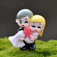 Mini artisanat resine doux Couple marier mariage maison jardin decoration ornements bonsai Micro paysage bricolage artisanat chaud