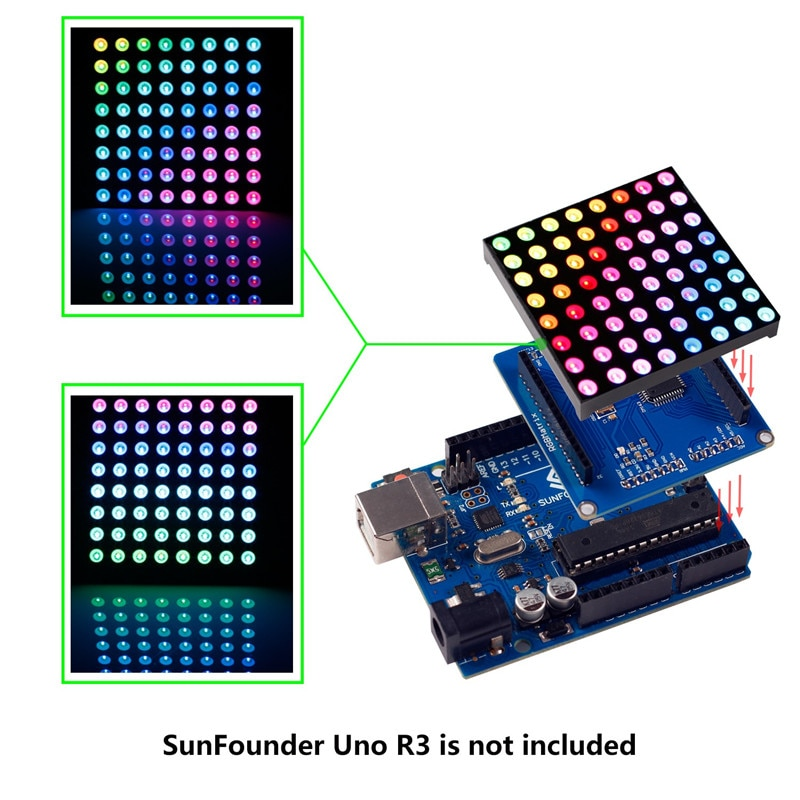 SunFounder 8x8 Color RGB LED de matriz de Shield de controlador + RGB pantalla de matriz para Arduino