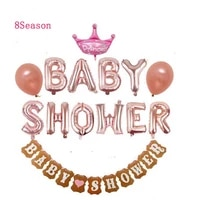 8season babyshower balloons silver decoration birthday for girls oh baby gender reveal balloon banner decorations party supplies