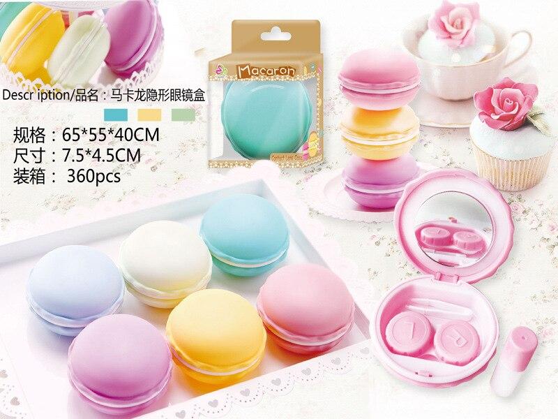 Free ship!1lot=8set!Sweet Macarons contact lenses box / companion box / Cartoon eyeglasses box / lens care /pencil case