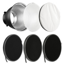 7 ''Bowens Montieren Standard Reflektor Diffusor Lampe Schatten Schüssel + 10 20 30 40 50 grad Honeycomb Grid für studio Flash Speedlite