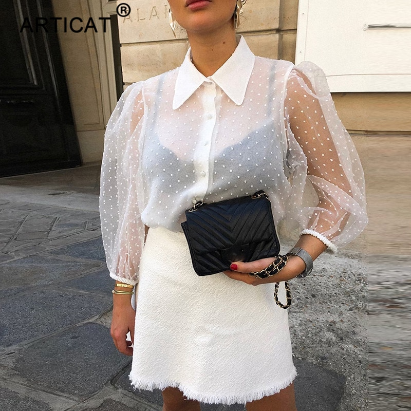 Articat Blusa blanca transparente de gasa para mujer 2020 Puff Sleeve Turn-down Collar botones verano Blusas camisa Oficina señoras Blusa