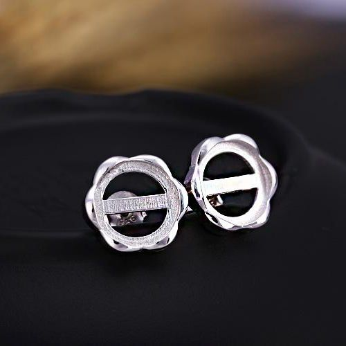 925 Sterling Silver Earrings 9x9mm Round Cabochon Semi Mount Women Stud Earring Setting Fine Jewelry Amber Agate Apal Setting