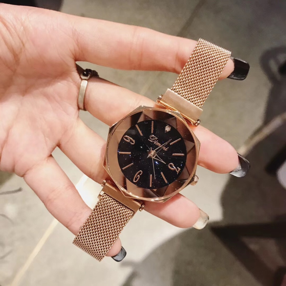 Personalized 8 Sides Geometric Watches for Women Ultra Thin Milanese Wrist watch Quartz Full Steel Bracelet Watch Faceted Glass