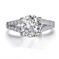solid 14k white gold diamond carbon moissanite ring engagement jewelry 2ct prongs wedding ring for women 14k gold ring