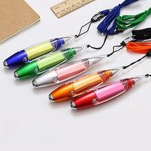 1pc stylo à bille multifonctionnel papeterie créative Notes collantes lanière stylo lumineux à LED stylo à bille encre bleue école fournitures de bureau