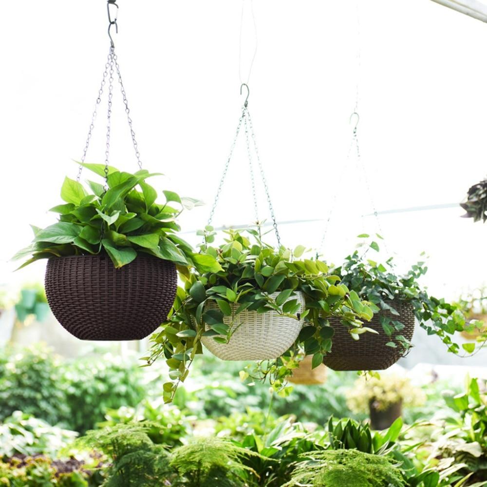 OOTDTY Beautiful Round Plastic Flower Pot Garden Plant Chain Woven Wicker Hanging Planters Balcony Decoration