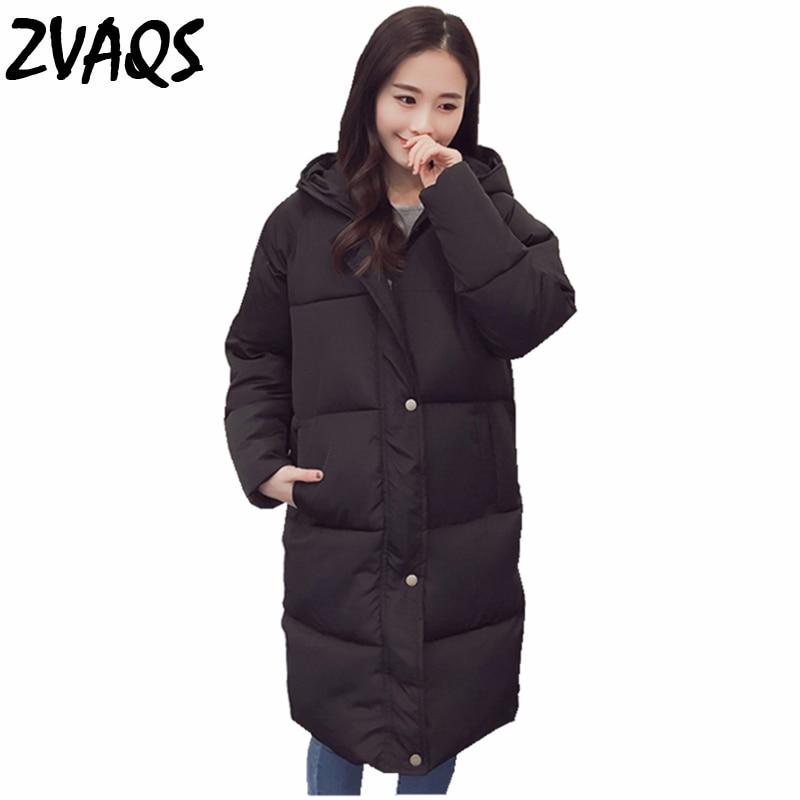 Zvaqs 2020 nova moda inverno coreano mulher jaqueta sobre pão seção longa zíper winte park com preto e cinza feminino coatld028