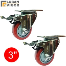 3-дюймовые направляющие ПВХ среднего типа, колесо тележки с тормозом, ношение, бесшумный, медведи 100 кг/шт., промышленные колесики