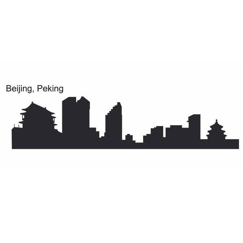 Calcomanía de pared de horizonte de BEIJING, pegatinas de vinilo, decoración de arte Mural para sala de estar, decoración del hogar, calcomanía de pared de horizonte de hito