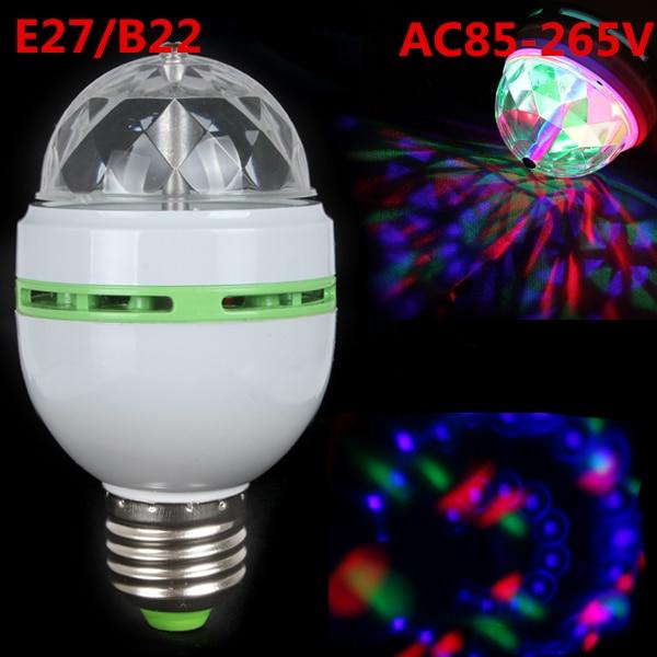 DHL envío gratis E27/B22 3W RGB LED proyector cristal etapa luz BOLA MÁGICA DJ dace fiesta Luz de efecto disco bombilla