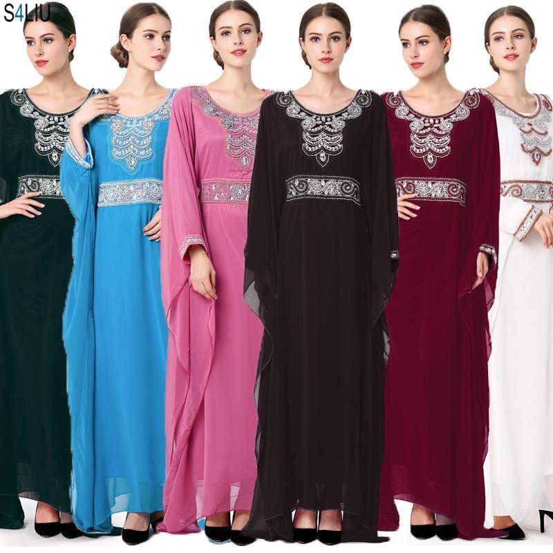 Muslim Arab Dress Chiffon Kaftan Maxi Robe Gown Women Embroidery Long Sleeve Turkish Dress Dubai Moroccan Abaya Islamic Clothing