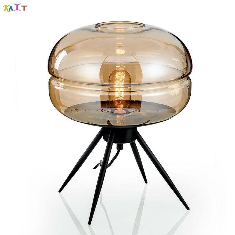 Wish lámpara de escritorio moderna lámpara de mesa de bola de cristal nórdico Retro LED E27 lámpara de escritorio Vintage