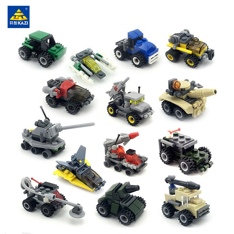 2017 new kazi 4pcs building blocks wolf tooth field team militray army weapons compatible with legoe solider bricks toys KAZI Mini Transportation Army Car Series Building Blocks Military Tank Armored Vehicle Bricks Educational Toys For Children Gift