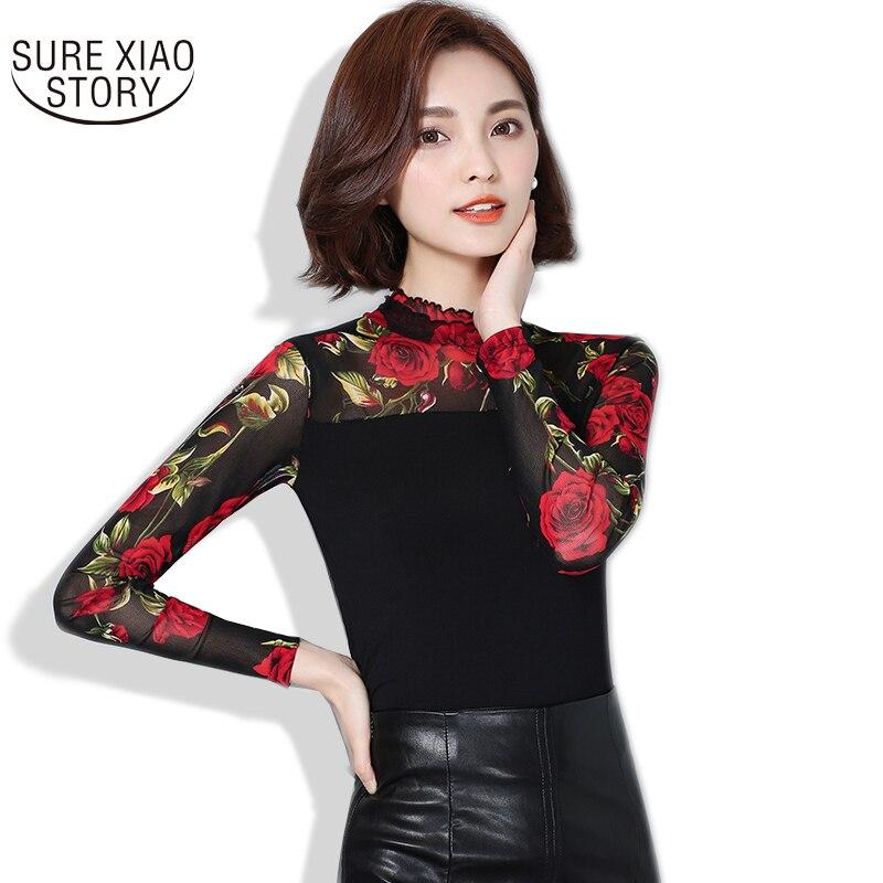 2017 nouvelle mode automne hiver femmes blouse à manches longues rose fleur chemise de grande taille femmes style coréen femmes chemise 60i 25